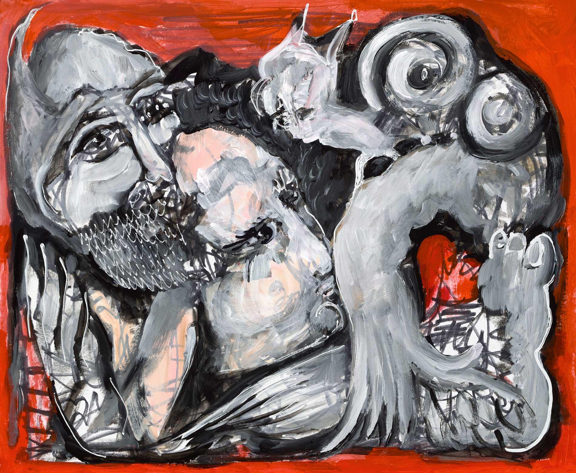 """Heart Headed Acrylic On Canvas 14"""" X 17"""""""