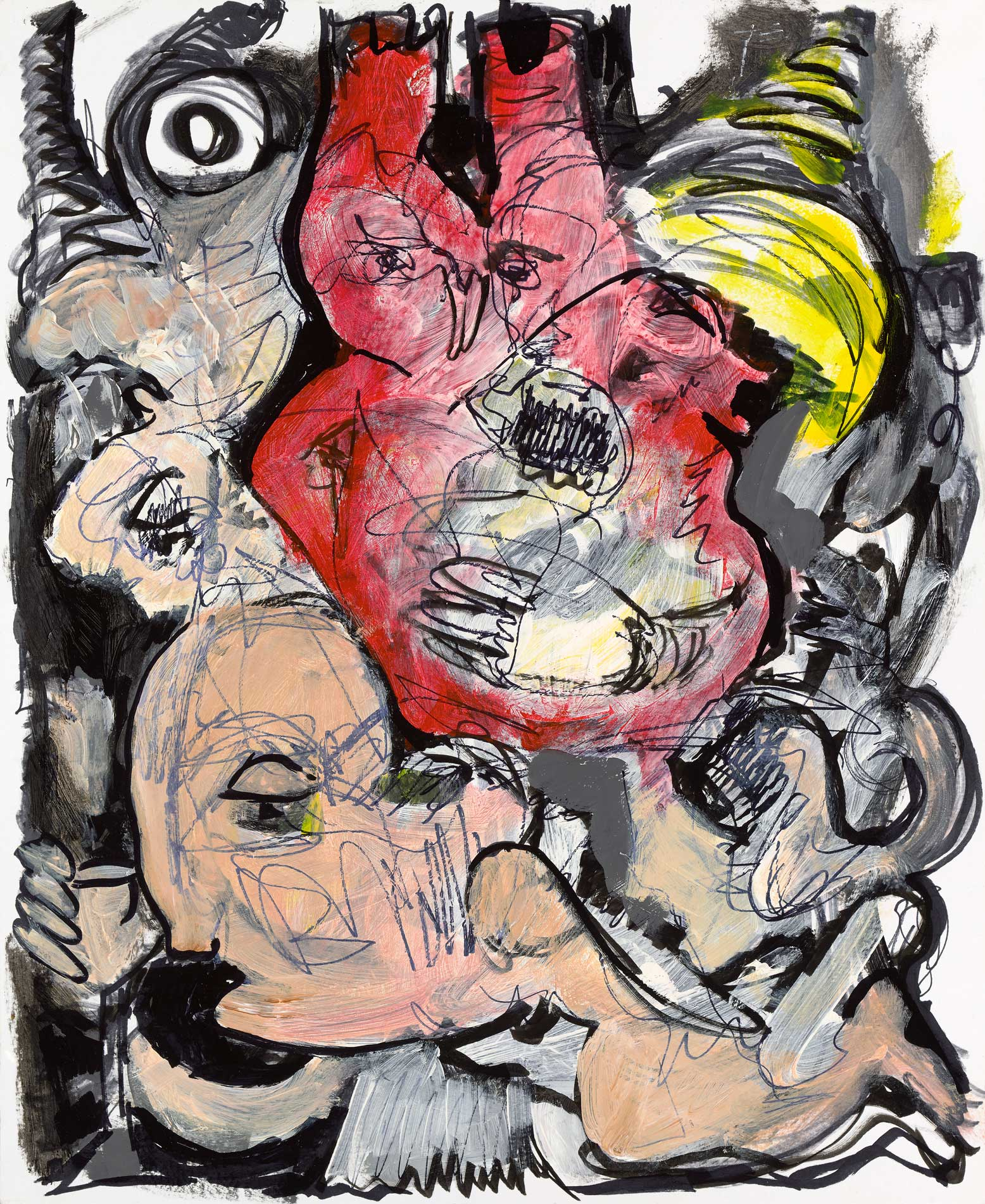 """The Hearts Code Acrylic Ink On Paper 14"""" X 17"""""""