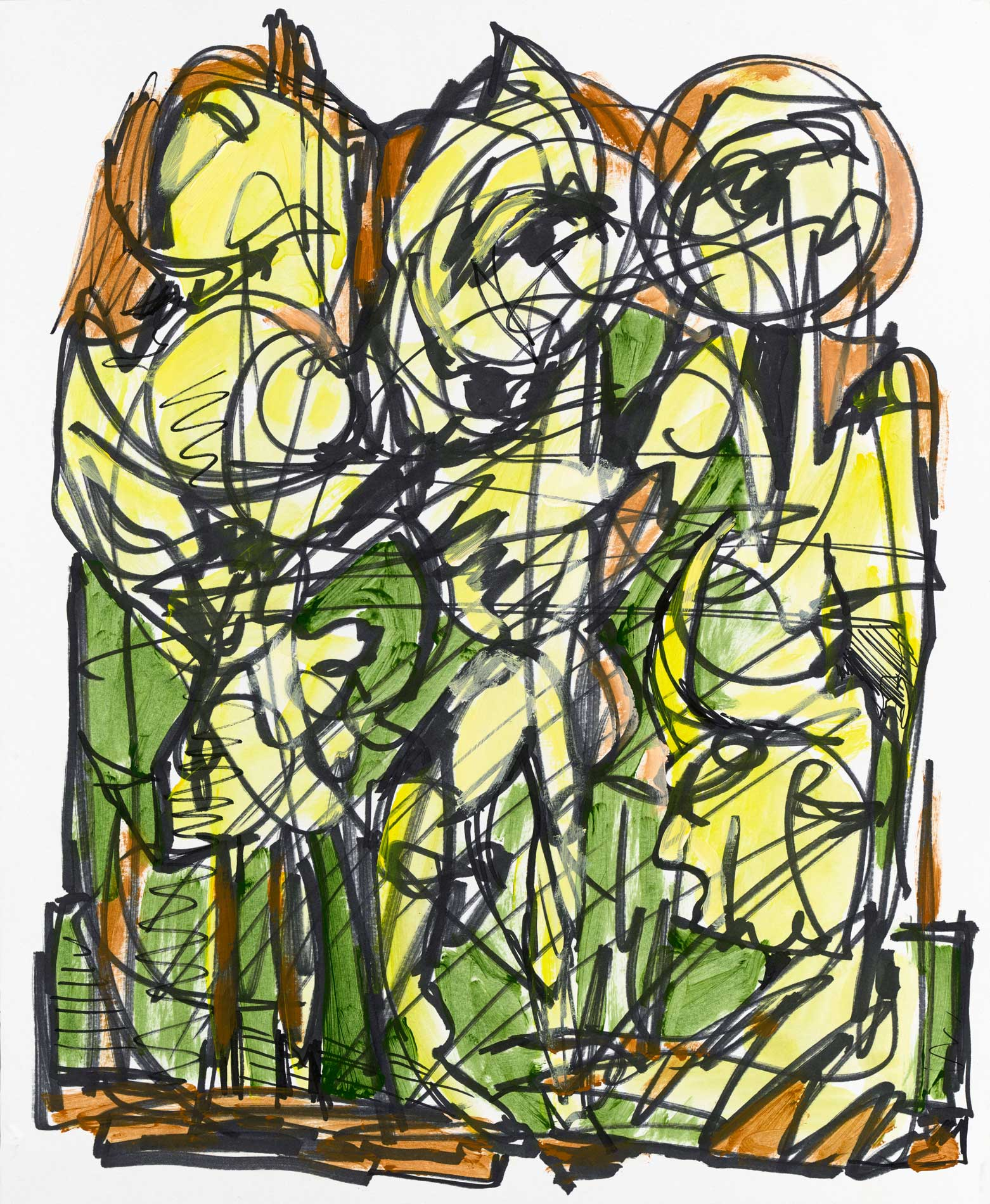 """The Invisible Council Acrylic Ink On Paper 14"""" X 17"""""""
